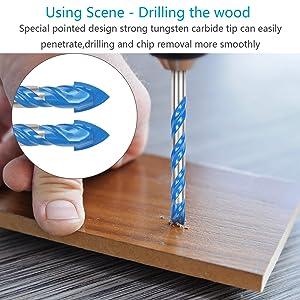 Masonry Drill Bit Set KAKOO 10 PCS Tungsten Carbide Tipped Ceramic Tile Drill Bits Assorted Size Twist Drill for Concrete Brick Glass Plastic and Wood (Color: Masonry Drill Bit)