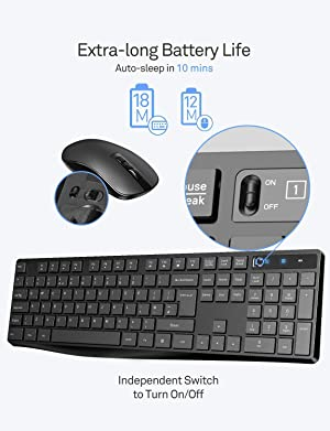 VicTsing Wireless Keyboard and Mouse Combo, Stylish Full-Size Keyboard and Quiet Mouse, 2.4GHz Wireless Connection with USB Receiver for Desktop Computer, Laptop, PC, Windows (Black) (Color: Black)