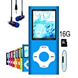 MP3 Player / MP4 Player, Hotechs MP3 Music Player with 16GB Memory SD card Slim Classic Digital LCD 1.82'' Screen with FM Radio, (16GB-Blue-01-lx)