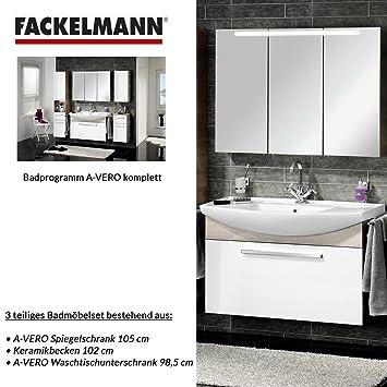 Fackelmann A-VERO 3-Piece Bathroom Furniture Set Washbasin / Sink / Spiegel