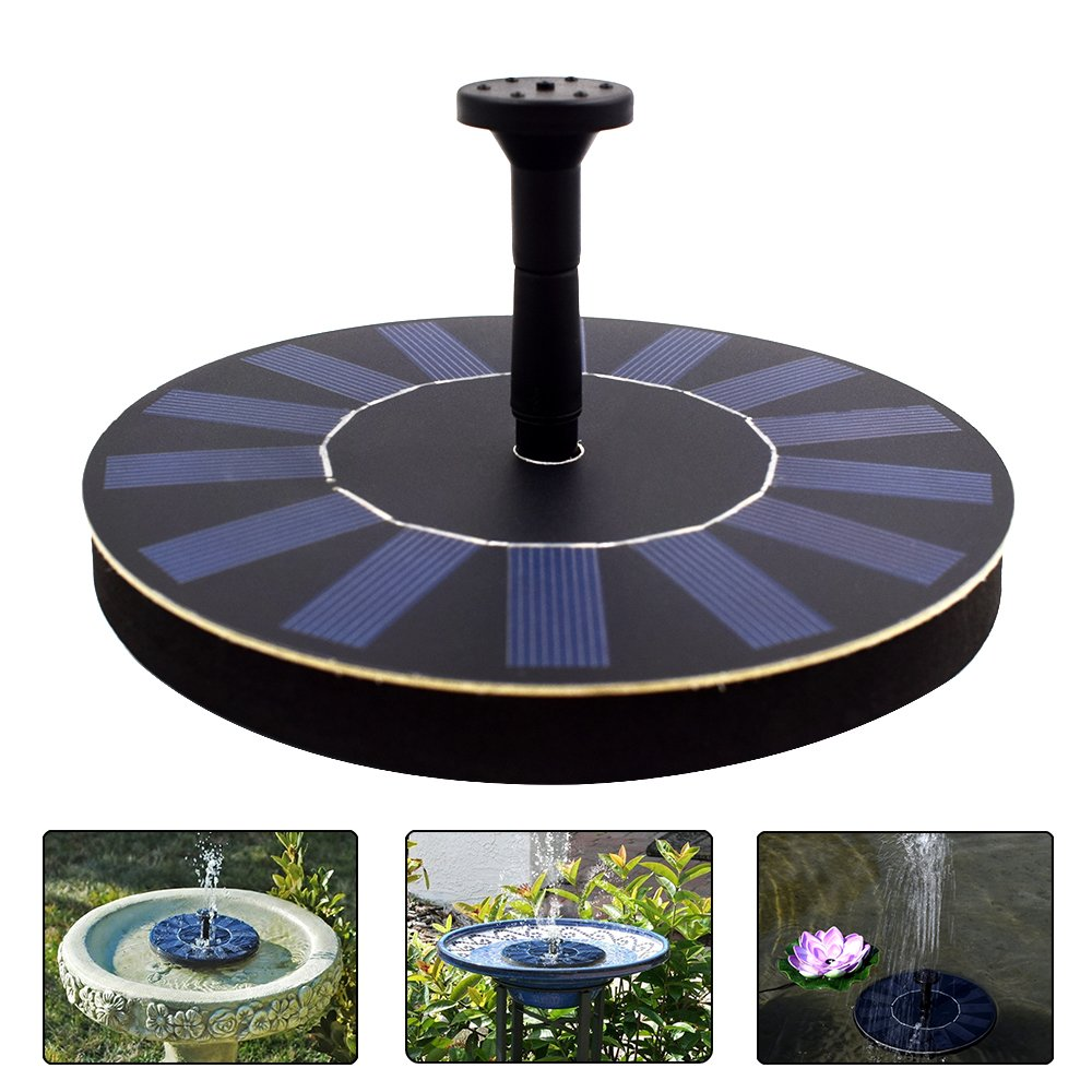 COSSCCI Solar Powered Water Fountain Pump Portable Submersible Free Standing for Bird Bath, Small Pond, Patio Garden Decoration(1.4W)