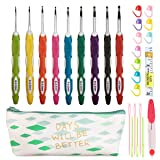 Latest Set of 27 PCS Ergonomic Crochet Hooks Set with Case Extra Long Soft Grip Handles Crochet Hook Needles for Arthritic Hands,Standard US Size B(2MM)-J(6MM) (Color: green)