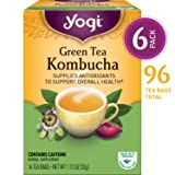 Yogi Tea - Green Tea Kombucha - Supplies Antioxidants - 6 Pack, 96 Tea Bags Total (Color: Yellow, Tamaño: Pack of 6)