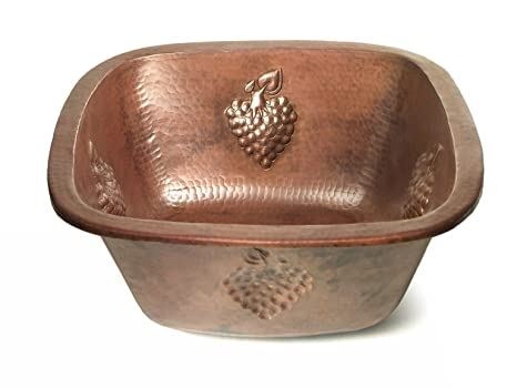 "Copper 15"" x 15"" Square Bar Sink with Grape Relief Finish: Shiny Copper"