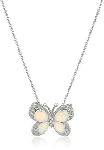 Opal Butterfly Pendant Necklace