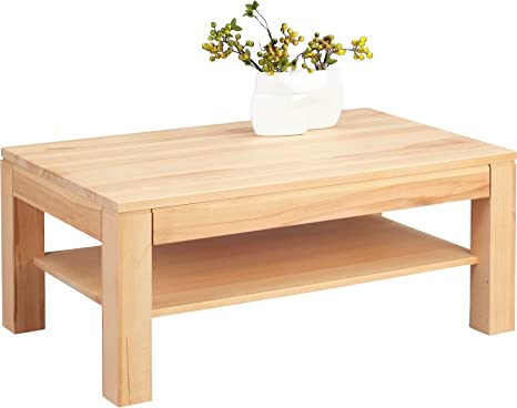 HomeTrends4You 244117 Couchtisch, 105 x 44 x 65 cm, kernbuche massiv geölt Schublade