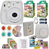 Fujifilm Instax Mini 9 Instant Camera White (USA)+ Fuji INSTAX Film (40 Sheets) + Accessories Kit Bundle +Case with Strap + Selfie Lens + Assorted Frames + Photo Album + Colorful Sticker Frames + Mor (Color: White)