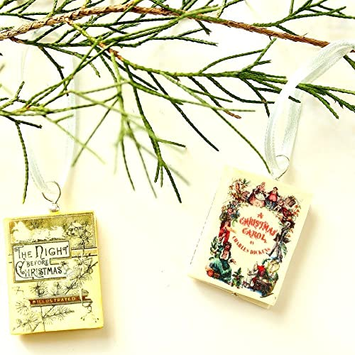 Christmas Mini Book Ornaments from Polymer Clay by Book Beads featuring A Christmas Carol and The Night Before Christmas (2 pc Pendant Set) Novelty Christmas Last Minute Gifts Decorations