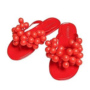 Yilaiyiqu_1 Popular Beach Slippers Women Grape Flip Flops Flat Sandals Peep-Toe Sandals Red5 B(M) US Comfortable