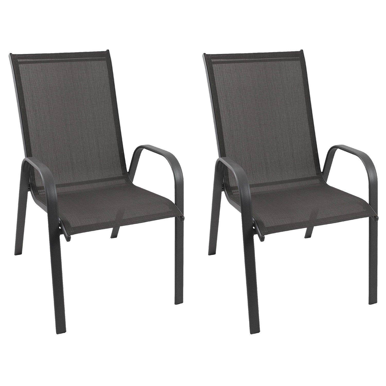 2 Stück Gartenstuhl stapelbar Gartensessel Stapelstuhl Stapelsessel Stahlgestell pulverbeschichtet mit 2×1 Textilenbespannung Gartenmöbel Terrassenmöbel Balkonmöbel günstig online kaufen