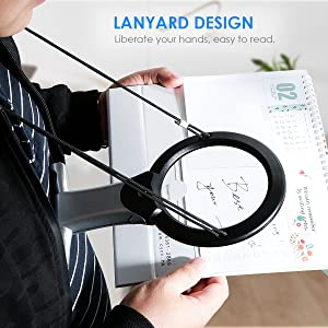 Reading Magnifier, Hands Free Neck Wear Handheld Large Lighted Magnifying Glass Desktop Magnifier with LED Light for Close Work, Reading, Sewing, Cros