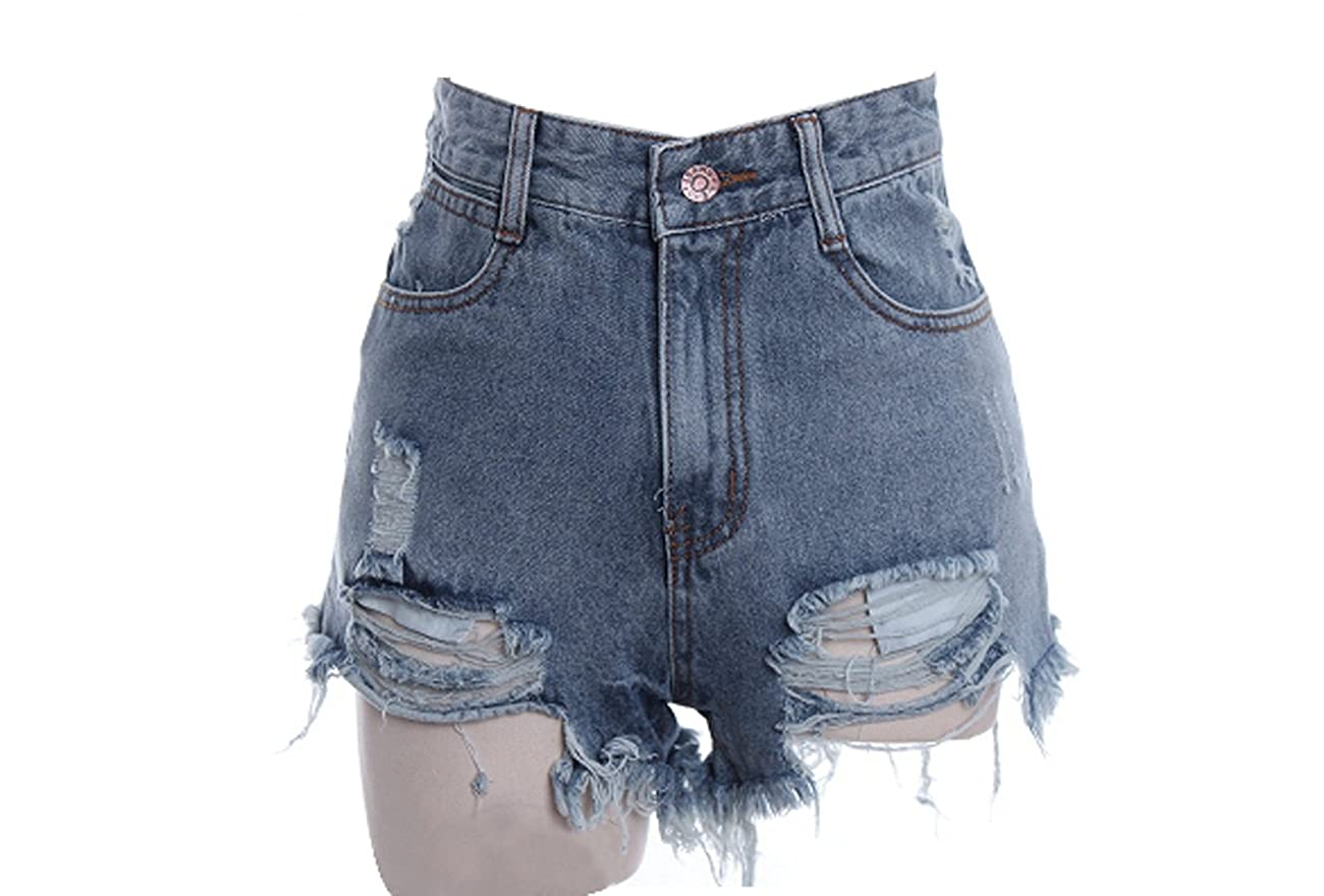 Zeagoo Women's Punk Rock Vintage Grunge Hole Water Wash Retro Shorts Jeans 0