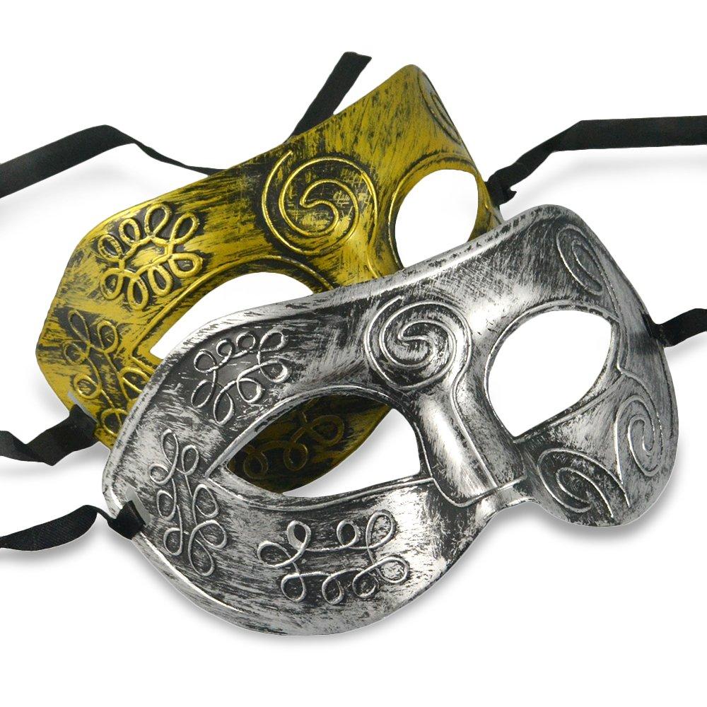 Thiroom Men's Retro Greco-Roman Gladiator Masquerade Masks Vintage Golden Mask Carnival Mask Mens Halloween Costume Party Mask(golden) 4