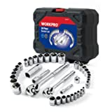 WORKPRO 38-Piece Drive Sockets Set 1/4-inch&3/8-inch Reversible Ratchets and Molded Case (Tamaño: 38-Piece)