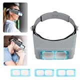 Head Mount Magnifier Headband Magnifier Professional Jeweler's Loupe Handsfree Reading Magnifier Magnifying Glasses with 4 Replaceable Lenses 1.5X,2.0X,2.5X,3.0X Magnification for Watch Repair, Crafts (Color: Grey)