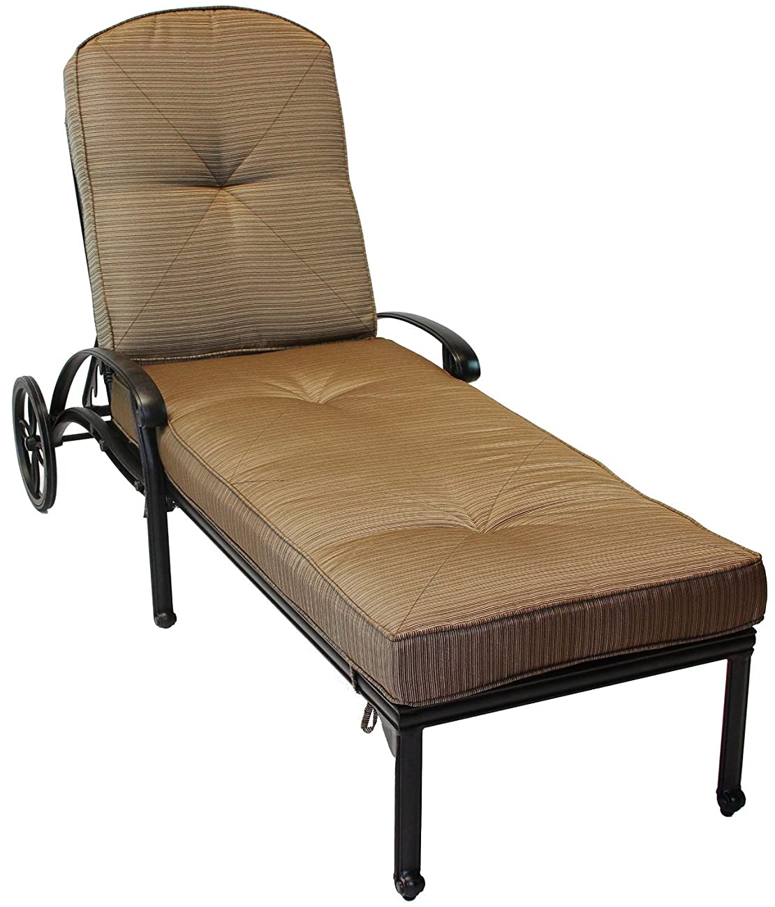 Mandalay Cast Aluminum Powder Coated Chaise Lounge with Cushion - Antique Bronze 0