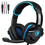 Sades Wired 3.5mm Stereo Universal Gaming Headset with Microphone (SA708 GT) - Black/Blue (Color: SA708GT Black Blue)