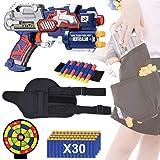 EXSPORT Blaster Gun with Tactical Waist Bag Holster, Paper Shooting Target, Refill Foam Bullet Darts 30PCS and Hand Wrist for Blaster Gun Compatible w