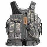 Lixada Tactical Vest Military Airsoft Vest Adjustable Breathable Combat Training Vest for Outdoor Hunting,Fishing,Army Fans,CS War Game,Survival Game, Combat Training (Color: Camouflage 1)