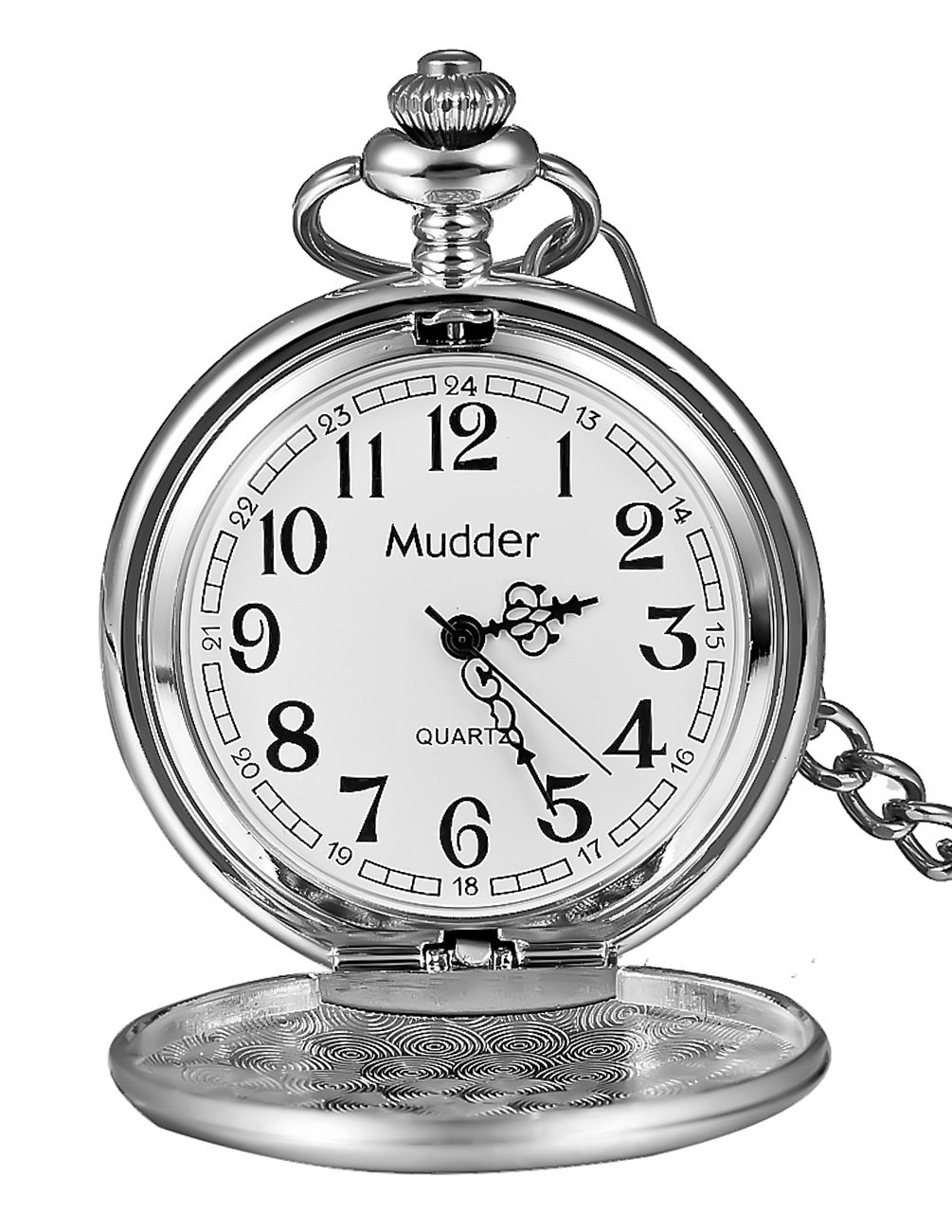 Mudder Classic Smooth Vintage Silver Steel Mens Pocket Watch Xmas Gift 0