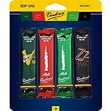 Vandoren SRMIXS3 Soprano Sax Jazz Reed Mix Card includes 1 each ZZ, V16, JAVA and JAVA Red Strength 3