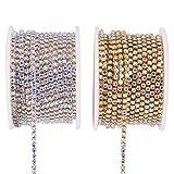 BENECREAT 2 Rolls 10 Yard 2.6mm Crystal Rhinestone Close Chain Clear Trimming Claw Chain Sewing Craft About 2740pcs Rhinestones - Crystal AB (Silver & Gold Bottom) (Color: Crystal Ab (Silver & Gold Bottom), Tamaño: 2.6mm)