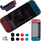 3 in 1 Nintendo Switch Cover Case - [Newest Version] YOOWA Dockable Clear Protective Case for Nintendo Switch with Screen Protector and 8 Thumb Grips Caps - Black (Color: Black, Tamaño: Clear)