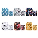 ALVABABY Reuseable Washable Pocket Cloth Diapers Nappies 6 PCS+ 12 Inserts 6DM19 (Color: Boy Color19, Tamaño: All in one)