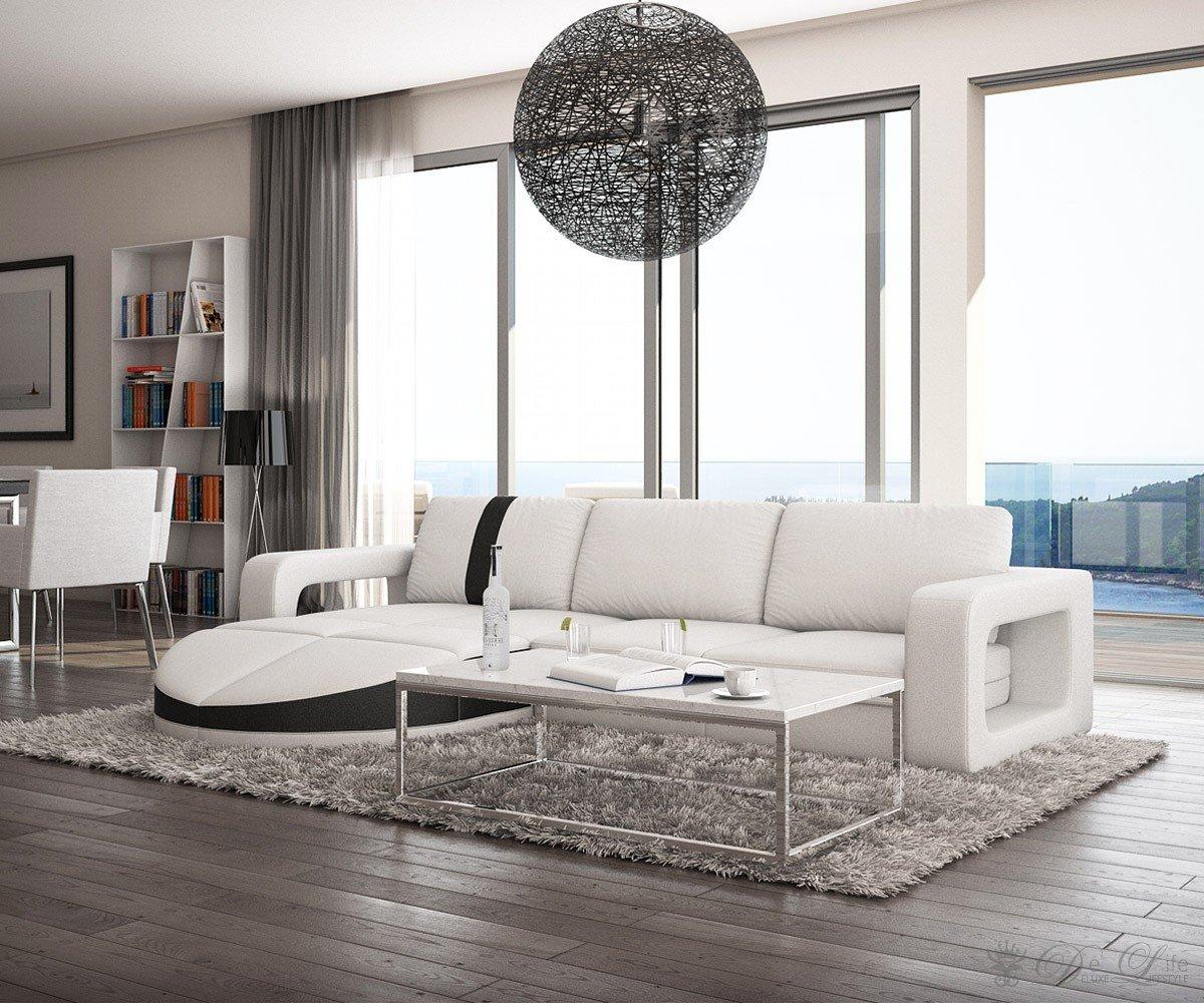 Couch Marlow Weiss Schwarz 274×190 cm Ottomane verschiebbar Ecksofa kaufen
