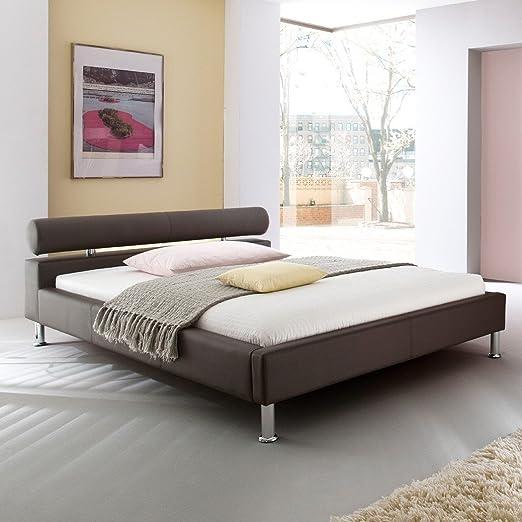 Polsterbett 180x200 braun Kunst-Lederbett Bett Doppelbett Andre