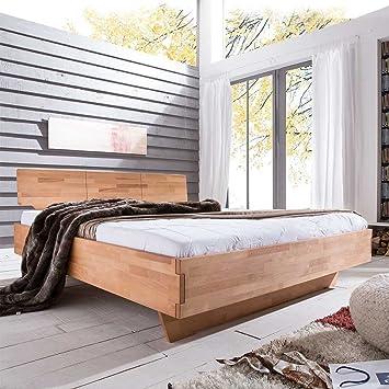 Bett mit Komforthöhe Kernbuche Massivholz Breite 185 cm Liegefläche 180x200 Pharao24