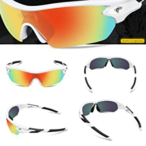1d21b9ad101 TOREGE Polarized Sports Sunglasses with 5 Interchangeable Lenes for Men  Women Cycling Running Driving Fishing Golf ...