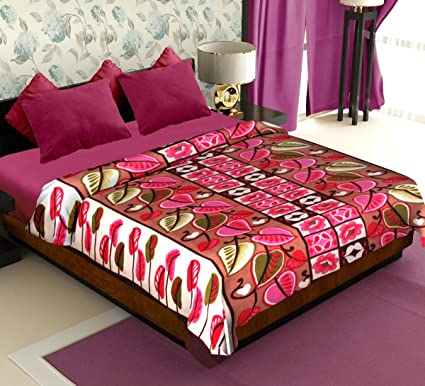 Story@Home Coral Collection Soft Printed Fleece Mink Double Bed Blanket, Beige