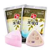 Myungga, Onigiri Rice Ball Triangle Sushi Seaweed Wrappers Nori set, (10sheets ×2pack) + mold + rice ball case