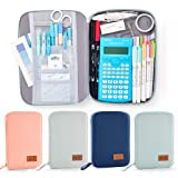 EASTHILL Big Capacity Pencil Pen Case Pouch Box Organizer Large Storage for Bullet Journal Grey Blue (Color: Grey Blue)