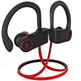 noot products NP11 Bluetooth Headphones IPX7 Waterproof Sports Wireless Earphones with CVC6.0 Noise Cancelling Mic,Volume/Remote Control Bluetooth 4.1 Earbuds 8 Hours Play Time for Running Workout (Color: Black/Red)