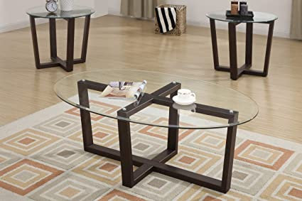 3pc Coffee Table Set w/ 8mm Beveled Glass Top & Metal Table Base + 2 End Tables Set