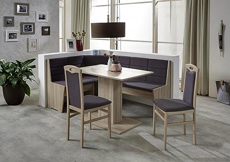 Dreams4Home Eckbankgruppe 'Sego' Essgruppe 165 x 125 x 82 cm Tisch 2 Stuhle modern Sonoma Eiche Eckbank Kuchentisch 4-teilig Landhaus Kuche