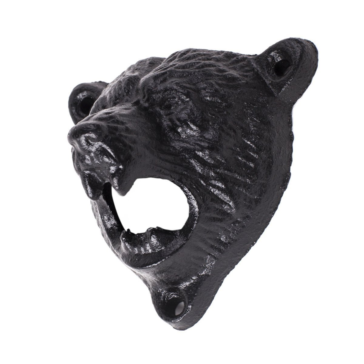 Cast Iron Wall Mount Grizzly Bear Teeth Bite Bottle Opener (Black) 2