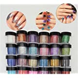 HitHopKing 24 Color Glitter Powder Acrylic Powder Set for Nail Art 3D DIY Tips decoration