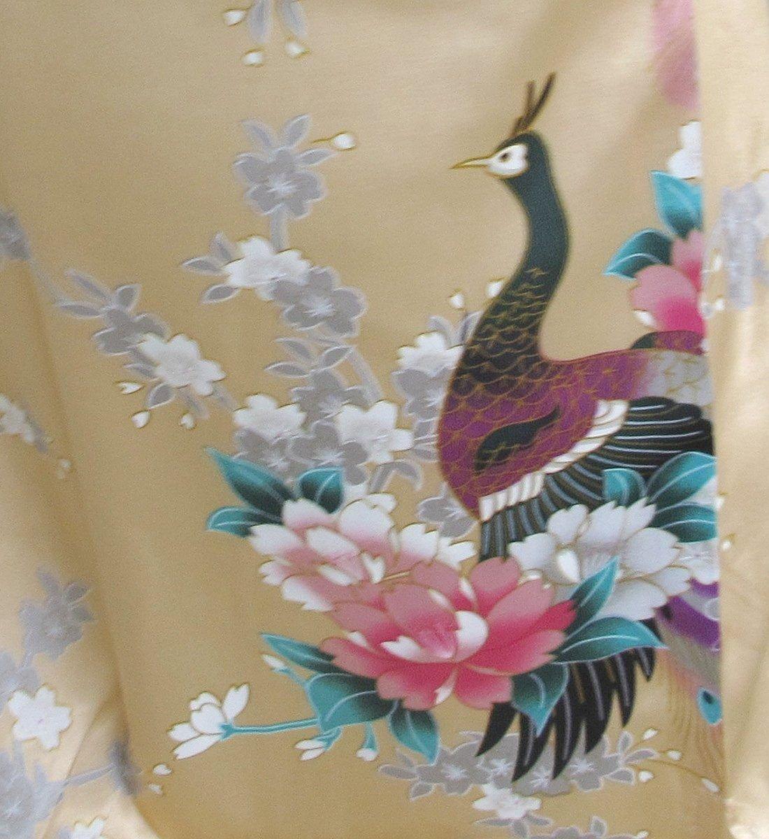 Thai Vintage Women's Gold Kimono Silk Satin Bath Wrap Robe Peacock Design 2
