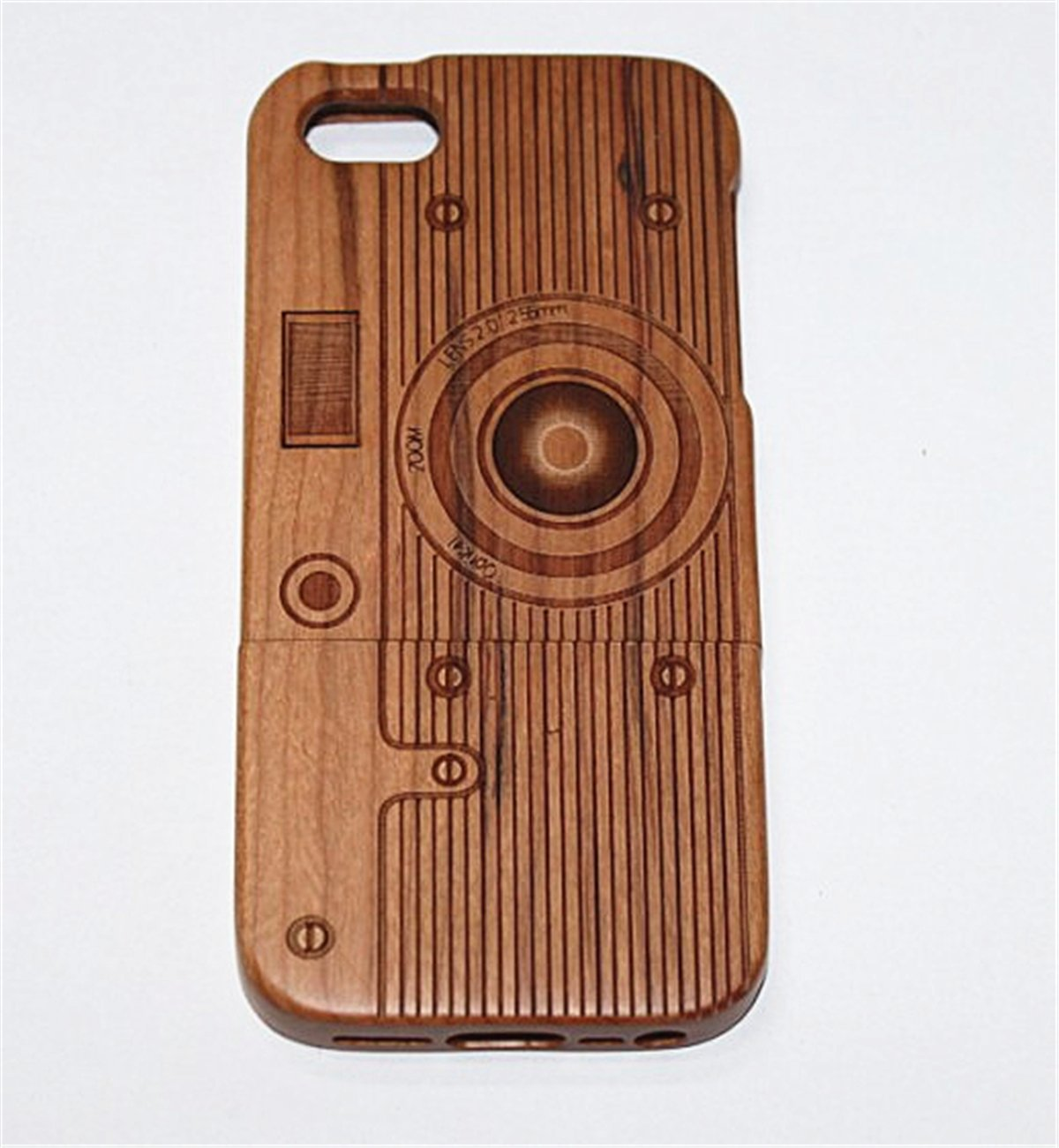 iPhone 6/6S Plus Case, Firefish Unique Handmade Natural Wood Wooden Hard Case Cover For iPhone 6/6S Plus High Impact absorbent Shell ( With A Stylus) -Camera