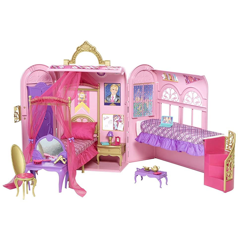 Mattel Barbie Doll Dream House Princess Charm School Playset Case New