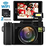 Digital Camera Camcorder WiFi Full HD 1080P Video Camera DIWUER 24.0MP 3.0 Inch LCD Mini Camcorders with Flash Light (Dual Batteries)