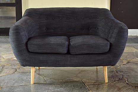 Retro Sofa Indigo 2-Sitzer Stoff Kohlefarben