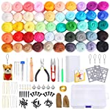 PP OPOUNT Needle Felting Starter Kit with Instructions, 50 Colors Wool Roving Fibre Yarn, 25 Pieces Wool Felt Tools and Foam Mat for DIY Needle Felting