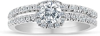 SK Jewel Inc 5/8ctw Diamond Halo Bridal Set Engagement Ring