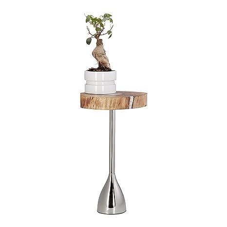 Relaxdays 10021134 Tavolino da Salotto, Legno d'Acacia, Metallo, Argento, HxLxP 51x30x28 cm