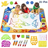 Toyk AquaDoodle Drawing Mat - Kids Painting Writing Doodle Board Toy - Color Aqua Magic Mat Bring Magic Pens Educational Toys for 1 2 3 4 5 6 7 8 9 10