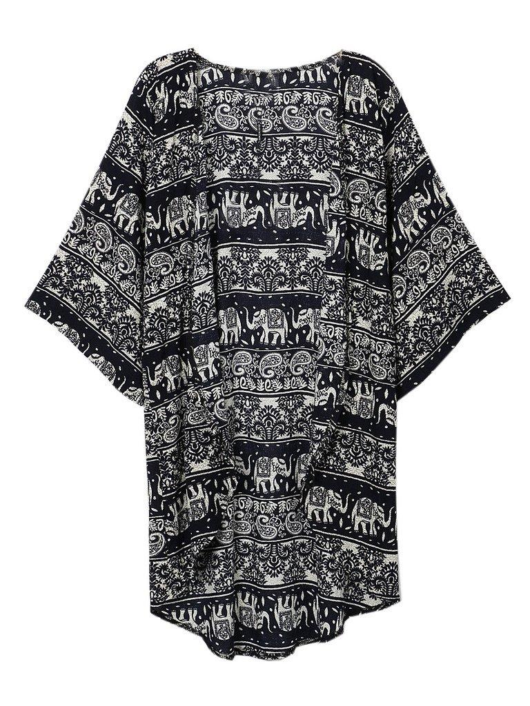 Persun Women Floral Chiffon Shawl Kimono Cover-up Jackets 0